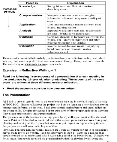 reflective writing essay sample in pdf. Resume Example. Resume CV Cover Letter