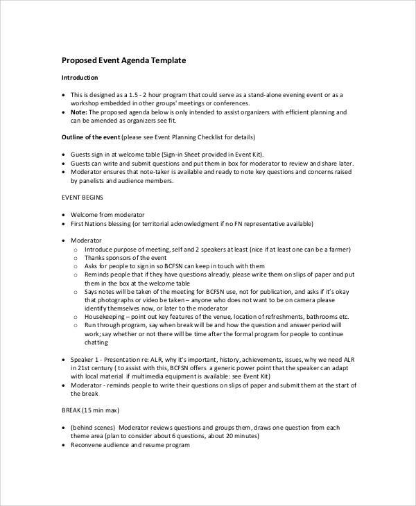 proposed event agenda free