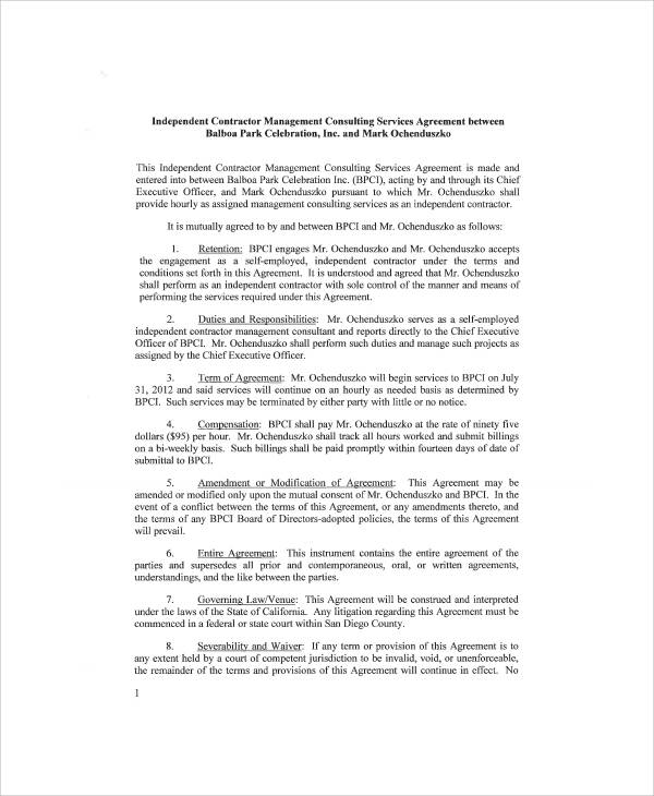 Sample Independent Consulting Agreement 6 Examples in Word PDF – Independent Consulting Agreement