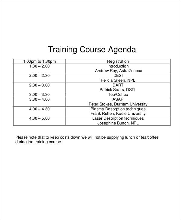 training course agenda6