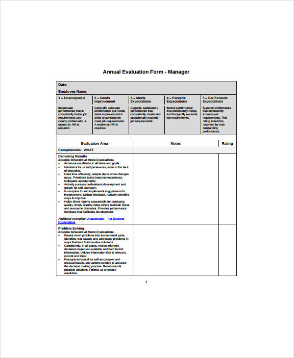sample annual evaluation form