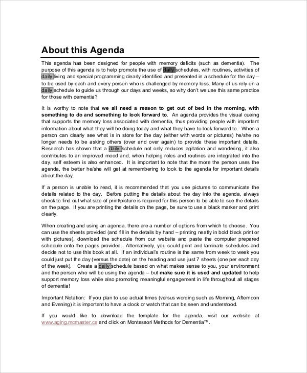 daily personal agenda pdf