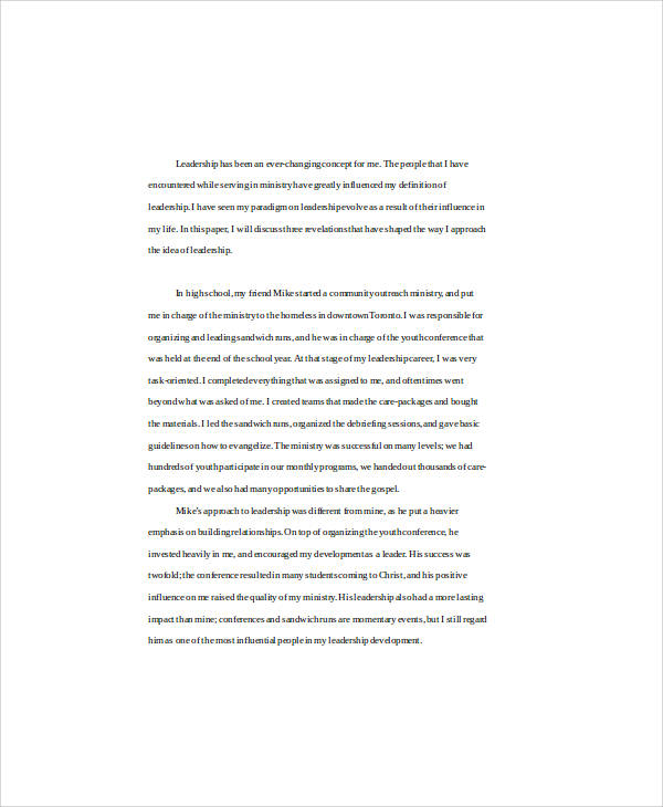 Leadership Essay. Scholarship Essay Example - 9+ Samples In Word