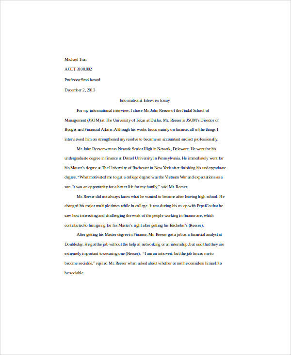 interview essay samples Free interview papers, essays, and research papers  charles walgreen had an  eye for good managers he said he was able to pick people that he knew were.