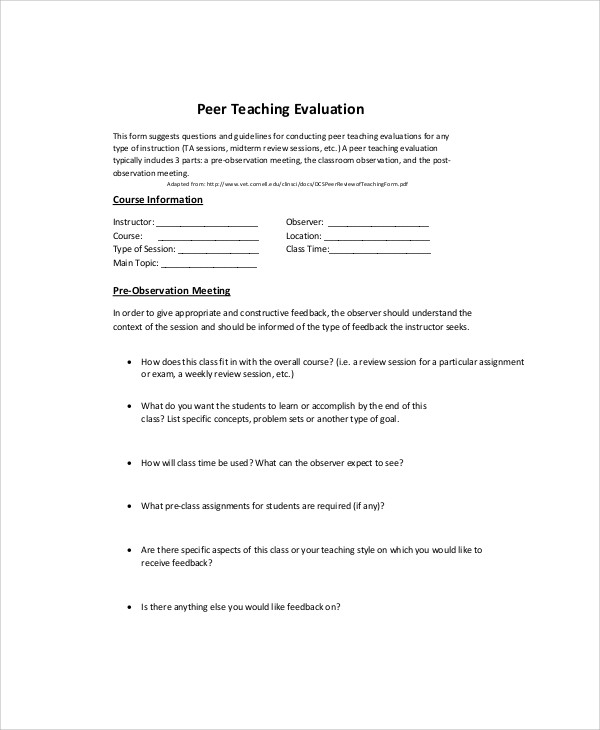 Sample Teaching Evaluation Form   Examples In Word Pdf