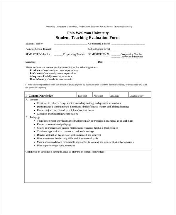 Sample Teaching Evaluation Form - 9+ Examples In Word, Pdf