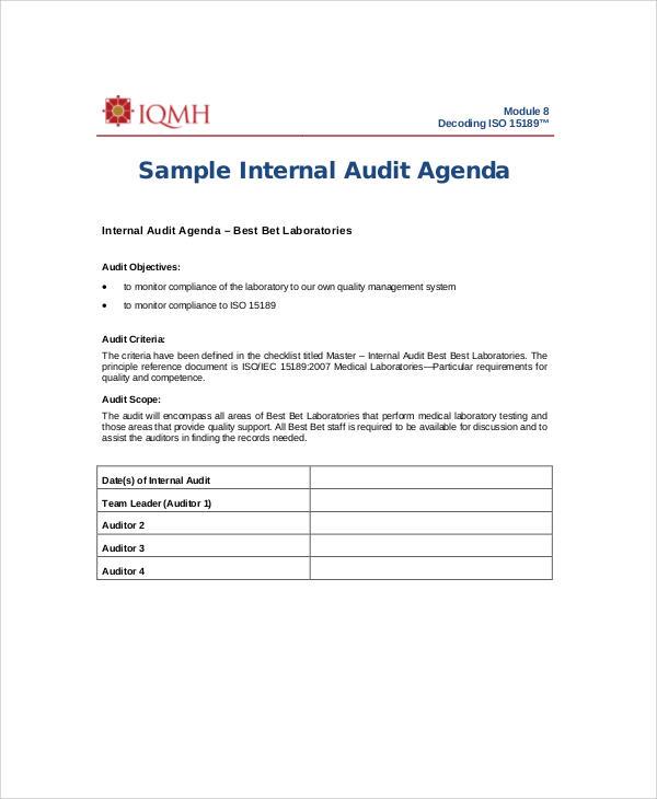 internal audit agenda sample