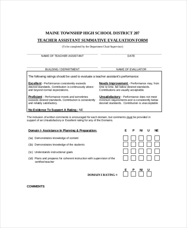 Sample Teaching Evaluation Form 9 Examples In Word Pdf