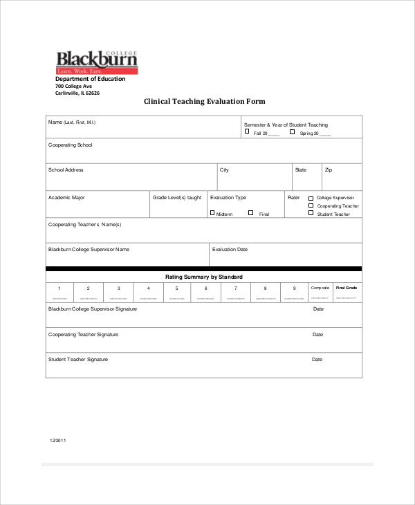 Teaching Evaluation Form Student Teacher Candidate Evaluation Form