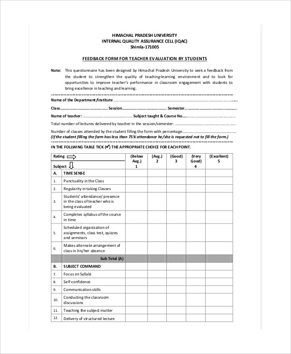 Lecture Evaluation Form Check Existence Of Relations And Attributes