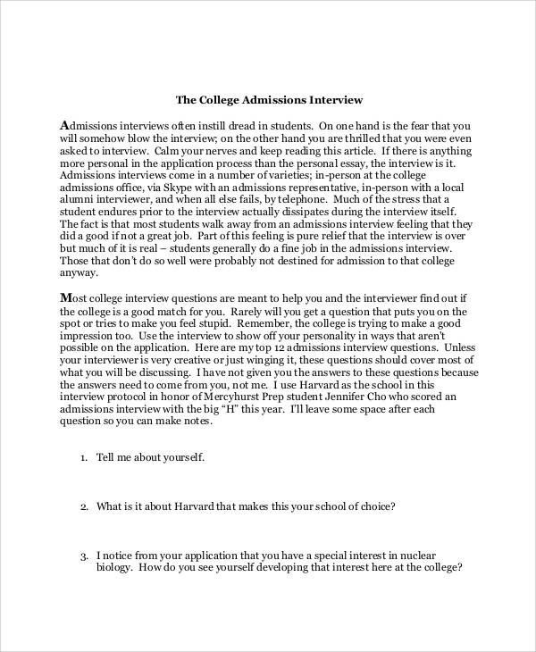 Interview essays examples
