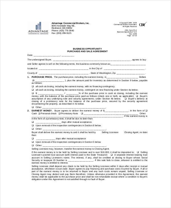 Sample Business Sales Agreement 9 Examples in Word PDF – Sale of Business Agreement