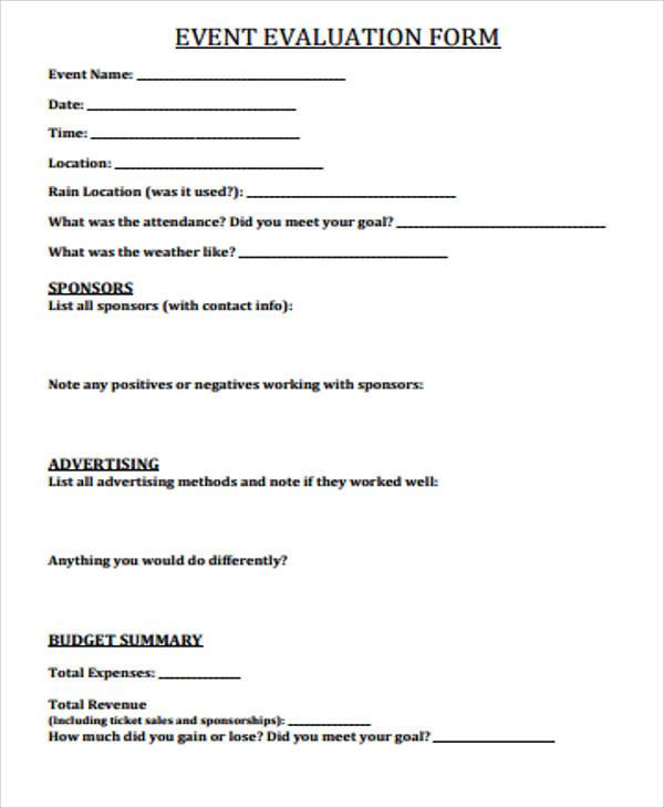 event evaluation form template   trattorialeondoro
