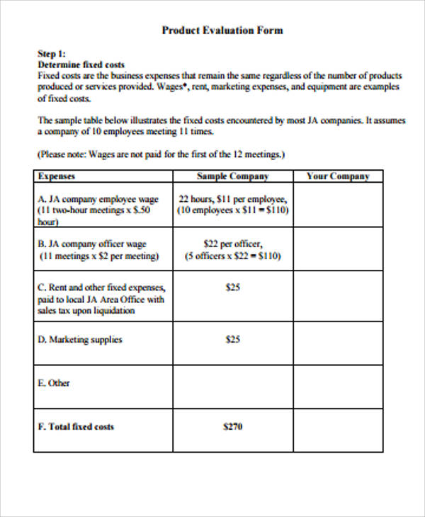 Evaluation Form Sample  Free Sample Example Format Download