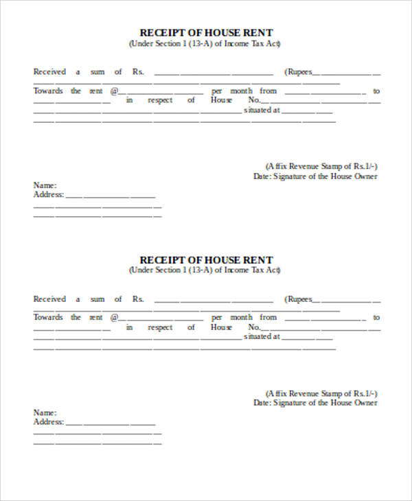 Doc585627 Receipt of House Rent Format Rent Receipt Template – Receipt for House Rent