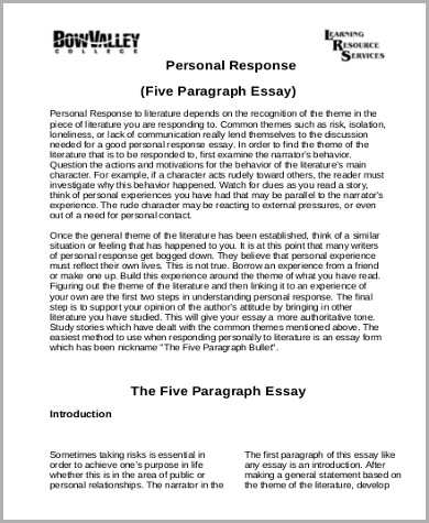 personal response essay tips In this lesson, you will learn about the purpose and format of a critical response essay this is followed by an example of how the structure of.