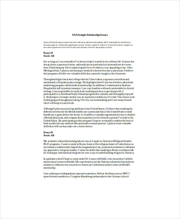 Sample Scholarship Essays
