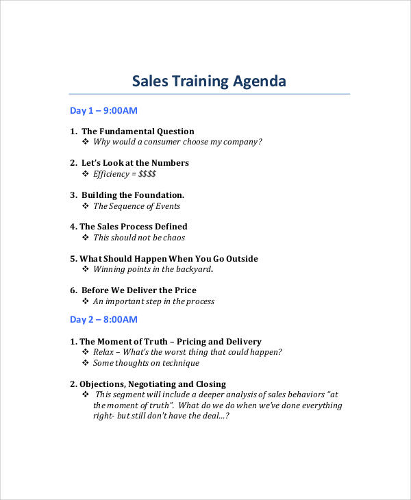 sample sales training agenda