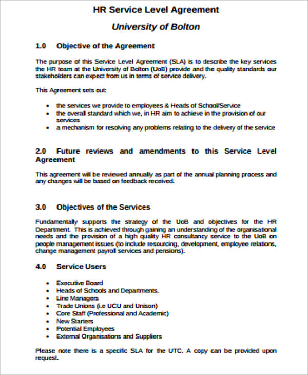 sample business service level agreement