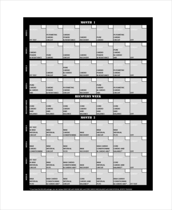 This is a picture of Insanity Schedule Printable intended for month 1