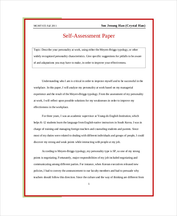 SelfAssessment Essay Sample   Examples In Word Pdf