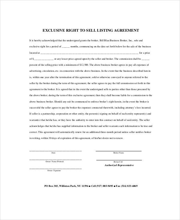 Sample business listing agreement 7 examples in word pdf business broker listing agreement in pdf pronofoot35fo Gallery