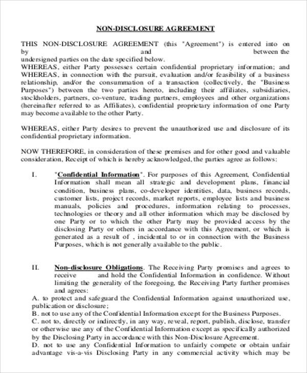 Sample Business Non Disclosure Agreement   Examples In Word Pdf
