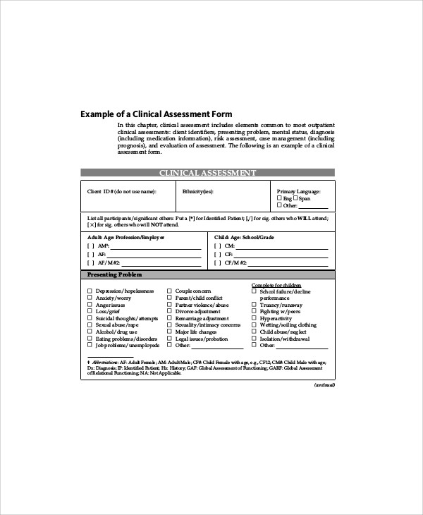 Social Work Assessment Form 7 Examples In Word Pdf