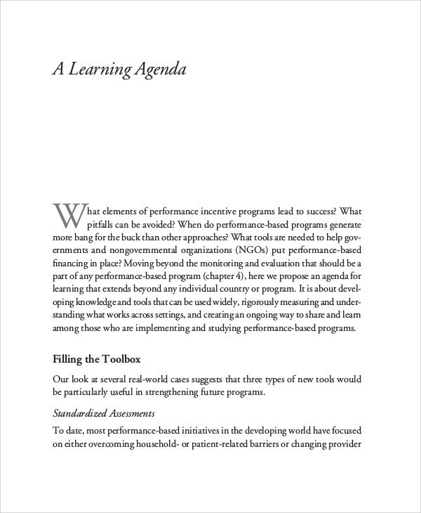 learning agenda example