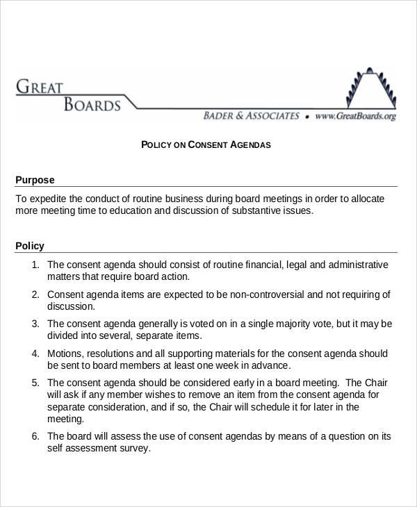 policy consent agenda