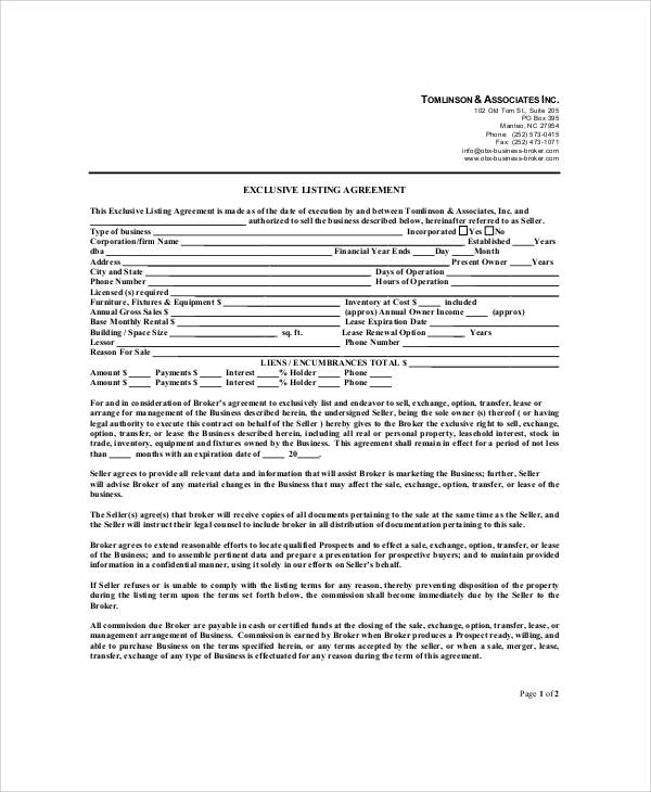 Sample Business Listing Agreement   Examples In Word Pdf