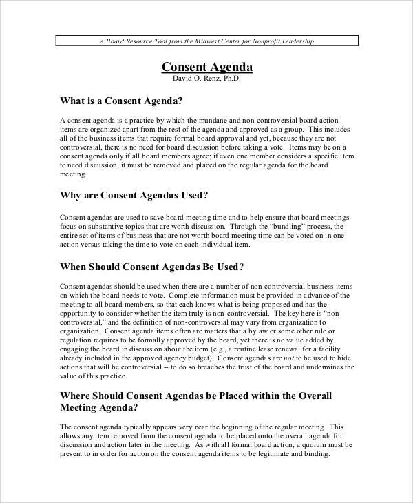 consent board agenda