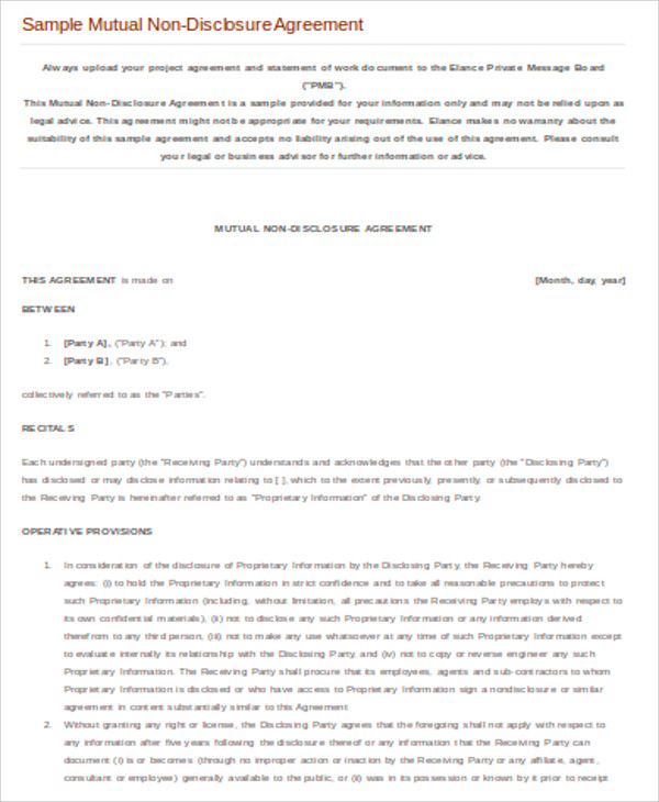 business sample mutual non disclosure agreement