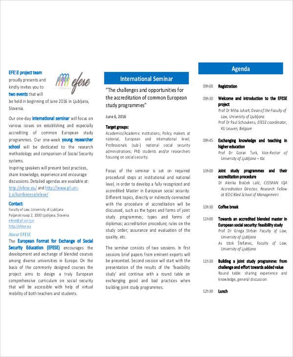 international seminar agenda