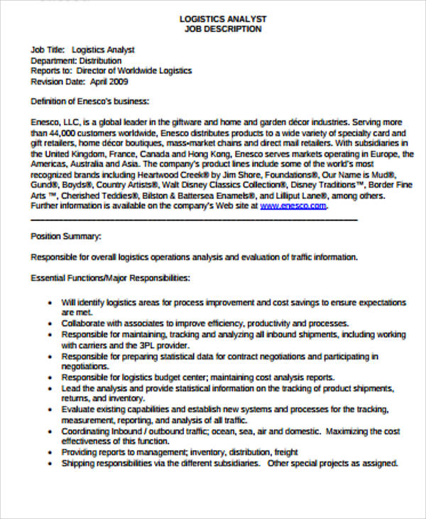 Logistics Job Description Sample   Examples In Word Pdf