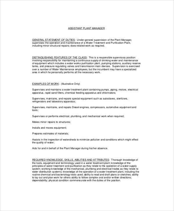 assistant plant manager job description