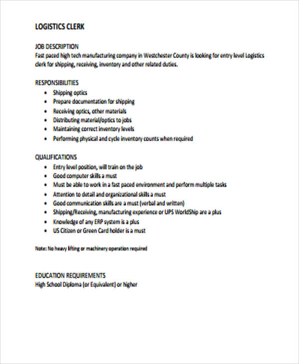 Logistics Job Description Sample - 12+ Examples In Word, Pdf