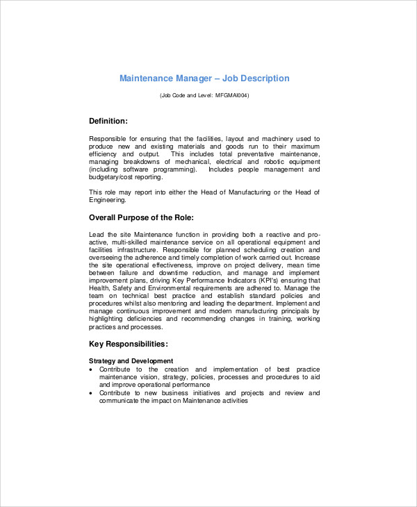 Maintenance Manager Job Description In PDF