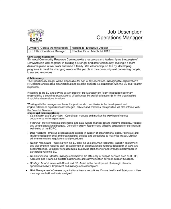 Operations Manager Job Description Previous 4 – Logistics Manager Job Description
