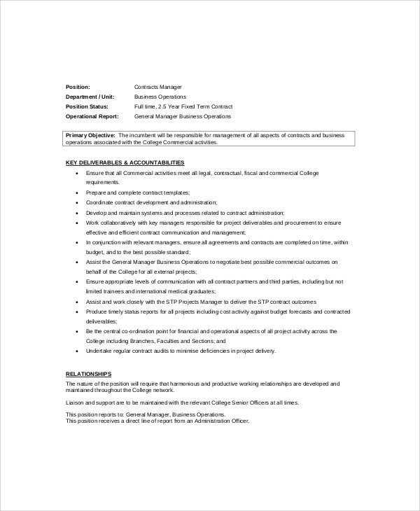 sample job description for contract manager