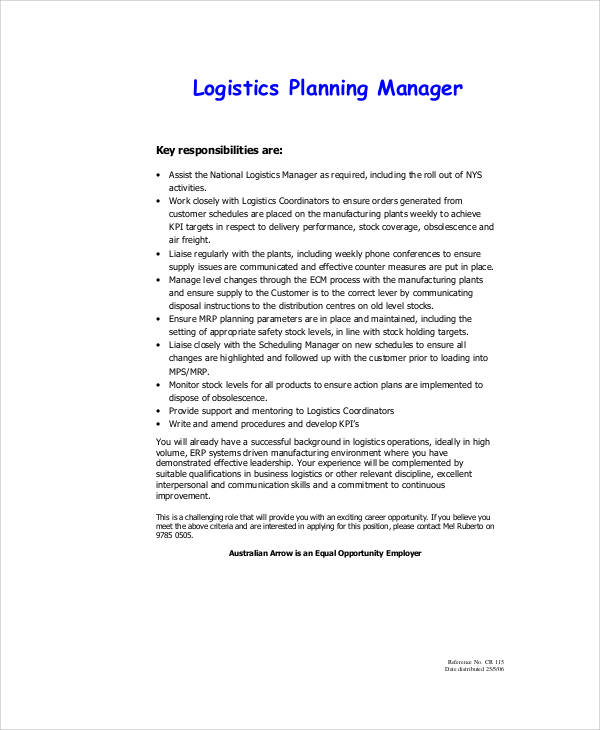 Logistics Assistant Description ...