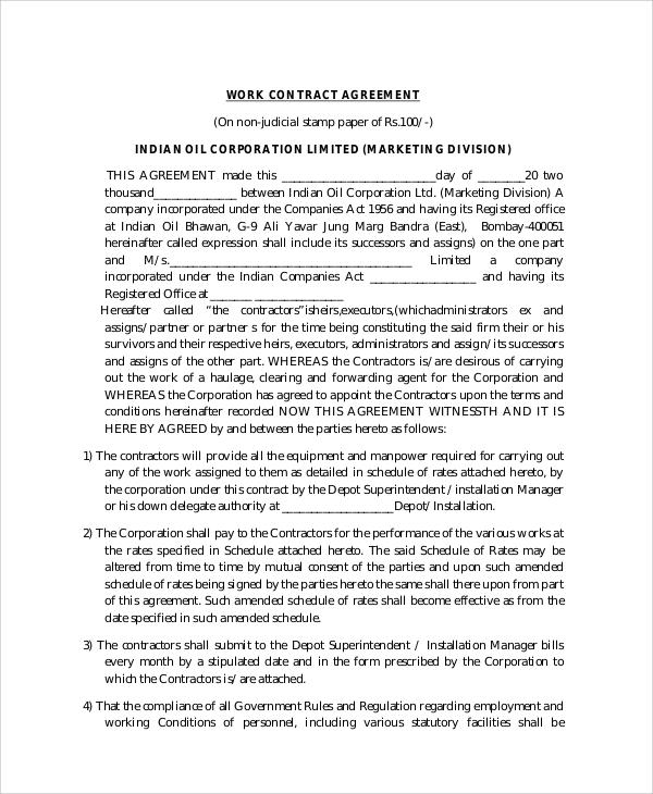 work contract agreement format