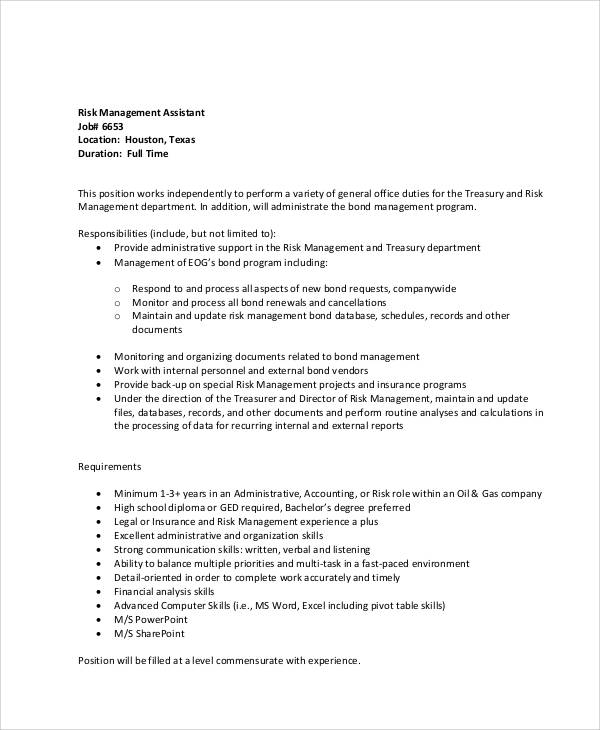 risk management job description sample 8 examples in word pdf - Loan Officer Assistant Job Description