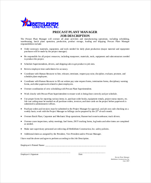 Plant Manager Job Description Sample   Examples In Word Pdf