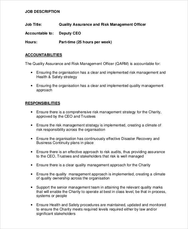 risk and quality management job description