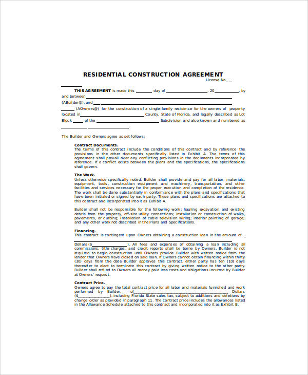 Sample contract agreement 30 examples in word pdf Residential building plan sample