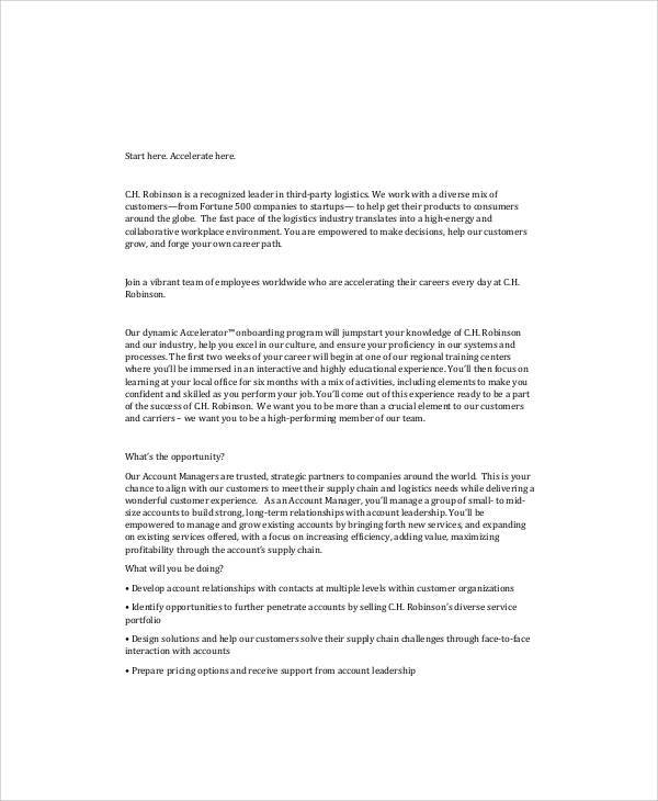 Logistics Manager Job Description Sample   Examples In Word Pdf