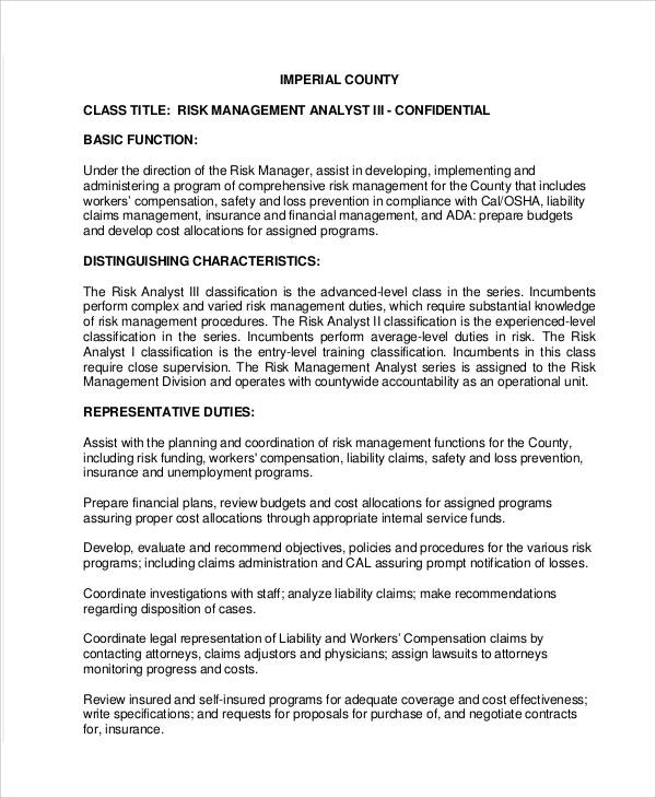risk analyst job description - 28 images - credit risk business ...
