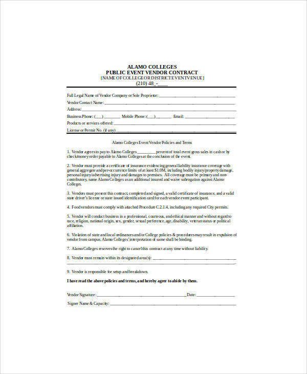 Sample Contract Agreement   Examples In Word Pdf