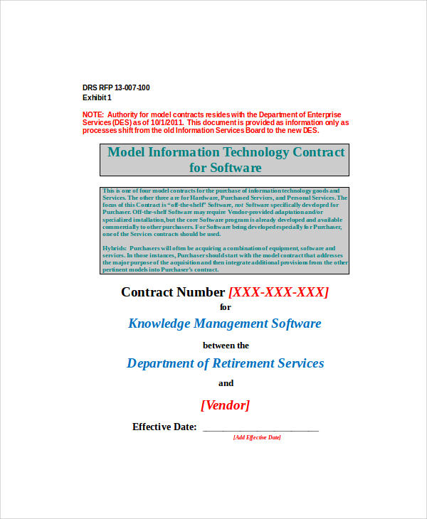software vendor contract agreement